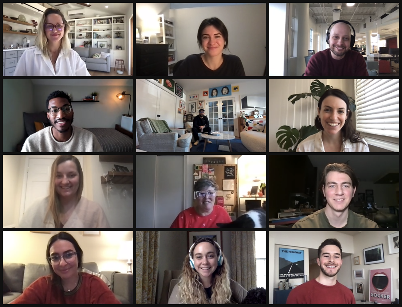 A screenshot of the Zoom call with the DoorDash client and Brandcenter winners.